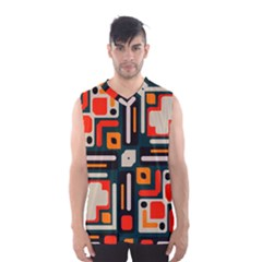 Shapes in retro colors texture                   Men s Basketball Tank Top by LalyLauraFLM