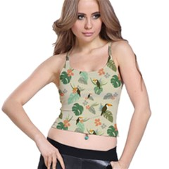 Tropical Garden Pattern Spaghetti Strap Bra Top