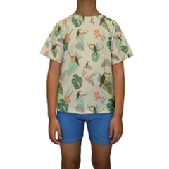 Tropical Garden Pattern Kid s Short Sleeve Swimwear
