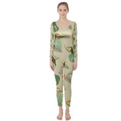 Tropical Garden Pattern Long Sleeve Catsuit