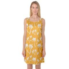 Summer Palm Tree Pattern Sleeveless Satin Nightdress
