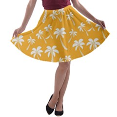 Summer Palm Tree Pattern A Line Skater Skirt
