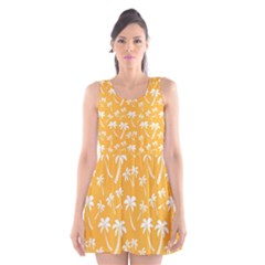 Summer Palm Tree Pattern Scoop Neck Skater Dress