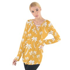 Summer Palm Tree Pattern Women s Tie Up Tee