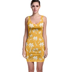 Summer Palm Tree Pattern Sleeveless Bodycon Dress