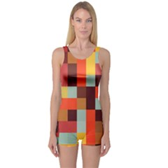 Tiled Colorful Background One Piece Boyleg Swimsuit