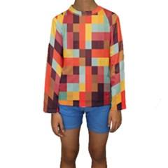 Tiled Colorful Background Kid s Long Sleeve Swimwear