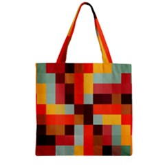 Tiled Colorful Background Zipper Grocery Tote Bag