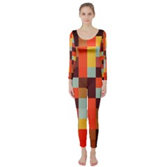 Tiled Colorful Background Long Sleeve Catsuit