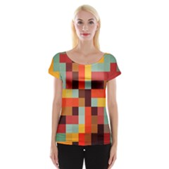 Tiled Colorful Background Women s Cap Sleeve Top
