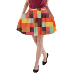 Tiled Colorful Background A Line Pocket Skirt by TastefulDesigns