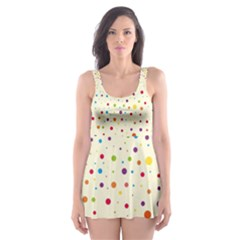 Colorful Dots Pattern Skater Dress Swimsuit