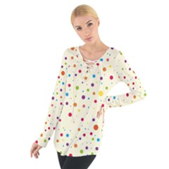 Colorful Dots Pattern Women s Tie Up Tee
