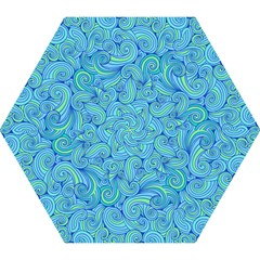 Abstract Blue Wave Pattern Mini Folding Umbrellas