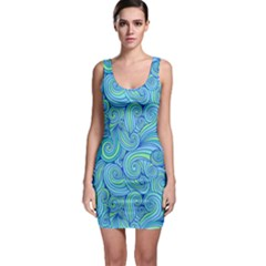 Abstract Blue Wave Pattern Sleeveless Bodycon Dress
