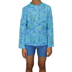 Abstract Blue Wave Pattern Kid s Long Sleeve Swimwear