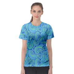 Abstract Blue Wave Pattern Women s Sport Mesh Tee