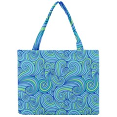 Abstract Blue Wave Pattern Mini Tote Bag