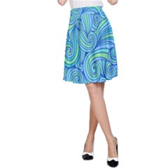 Abstract Blue Wave Pattern A Line Skirt
