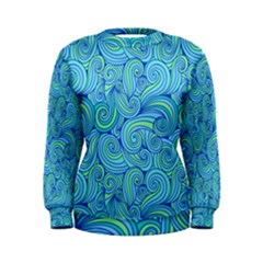 Abstract Blue Wave Pattern Women s Sweatshirt