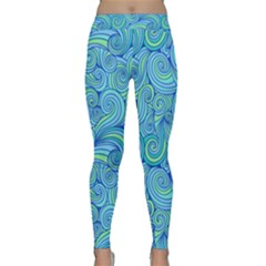 Abstract Blue Wave Pattern Yoga Leggings