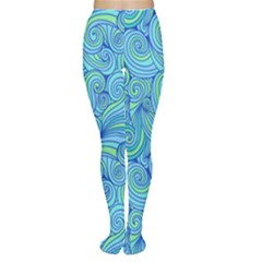 Abstract Blue Wave Pattern Women s Tights