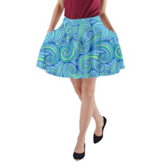 Abstract Blue Wave Pattern A-Line Pocket Skirt by TastefulDesigns