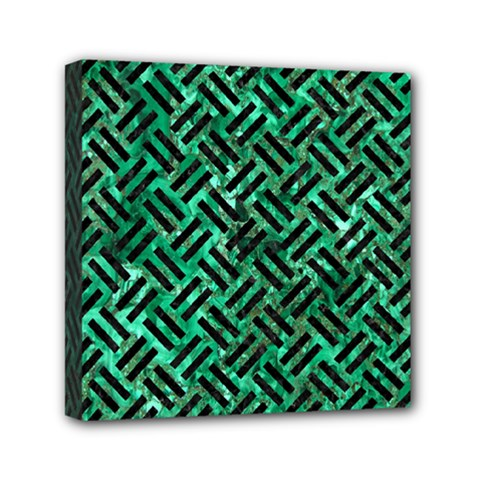 Woven2 Black Marble & Green Marble (r) Mini Canvas 6  X 6  (stretched) by trendistuff