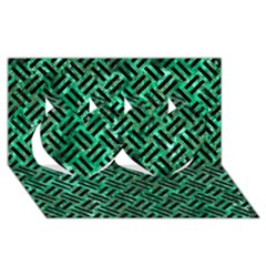 Woven2 Black Marble & Green Marble (r) Twin Hearts 3d Greeting Card (8x4) by trendistuff