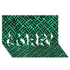 Woven2 Black Marble & Green Marble (r) Sorry 3d Greeting Card (8x4)