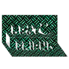 Woven2 Black Marble & Green Marble Best Friends 3d Greeting Card (8x4)