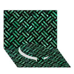 Woven2 Black Marble & Green Marble Circle Bottom 3d Greeting Card (7x5)