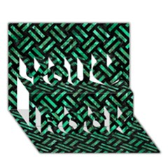 Woven2 Black Marble & Green Marble You Rock 3d Greeting Card (7x5)