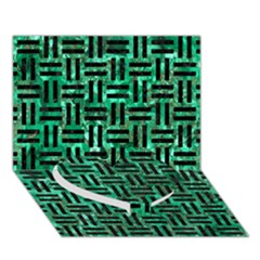 Woven1 Black Marble & Green Marble (r) Heart Bottom 3d Greeting Card (7x5)