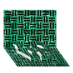 Woven1 Black Marble & Green Marble (r) Love Bottom 3d Greeting Card (7x5) by trendistuff