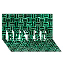 Woven1 Black Marble & Green Marble (r) Best Sis 3d Greeting Card (8x4)