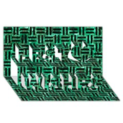 Woven1 Black Marble & Green Marble (r) Best Wish 3d Greeting Card (8x4)