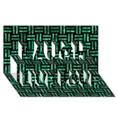 Woven1 Black Marble & Green Marble Laugh Live Love 3d Greeting Card (8x4)