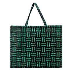 Woven1 Black Marble & Green Marble Zipper Large Tote Bag by trendistuff