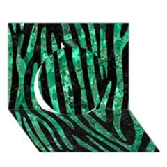Skin4 Black Marble & Green Marble (r) Circle 3d Greeting Card (7x5) by trendistuff