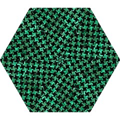 Houndstooth2 Black Marble & Green Marble Mini Folding Umbrella by trendistuff