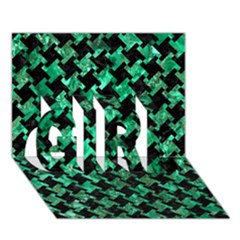 Houndstooth2 Black Marble & Green Marble Girl 3d Greeting Card (7x5)