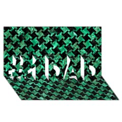 Houndstooth2 Black Marble & Green Marble #1 Dad 3d Greeting Card (8x4)