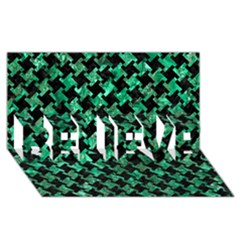 Houndstooth2 Black Marble & Green Marble Believe 3d Greeting Card (8x4)