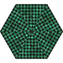 Houndstooth1 Black Marble & Green Marble Mini Folding Umbrella by trendistuff