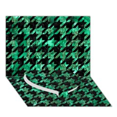 Houndstooth1 Black Marble & Green Marble Heart Bottom 3d Greeting Card (7x5)