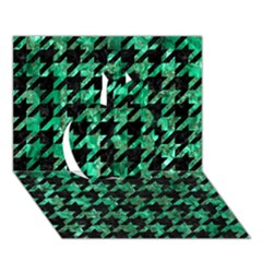 Houndstooth1 Black Marble & Green Marble Apple 3d Greeting Card (7x5)