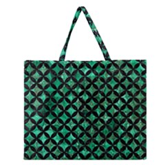 Circles3 Black Marble & Green Marble (r) Zipper Large Tote Bag