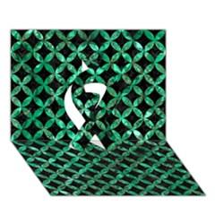 Circles3 Black Marble & Green Marble Ribbon 3d Greeting Card (7x5) by trendistuff