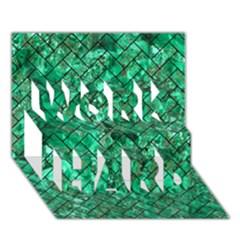 Brick2 Black Marble & Green Marble (r) Work Hard 3d Greeting Card (7x5) by trendistuff